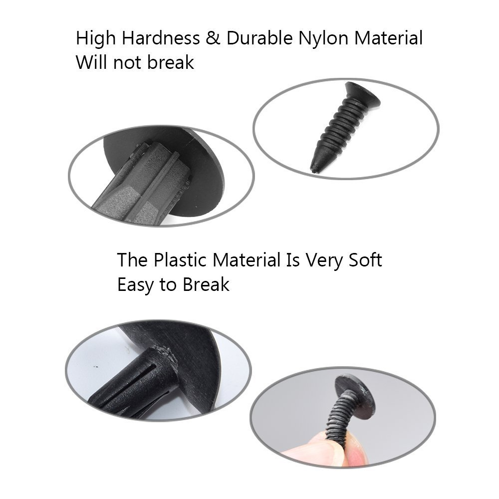ClipsOne 50PCS Push-Type Retainer Black Nylon 27//32 Hd Dia 1 Length for GM 15672330 Doitnow