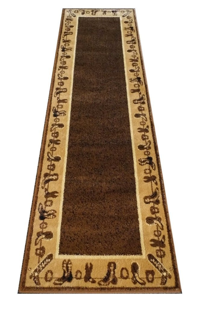 CHAMPION RUGS LODGE CABIN COUNTRY WESTERN THEME BOOTS AREA RUG TAN BROWN (2 Feet 2 Inch X 7 Feet 2 Inch Runner)