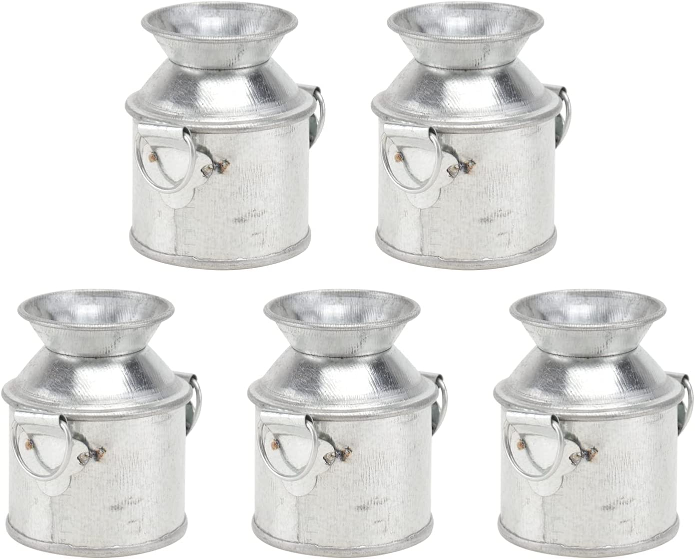 Cabilock 5 Pcs Mini Rustic Galvanized Vase Shabby Chic Small Metal Bucket Dollhouse Flower Plant Vase Milk Can Candy Container for Micro Garden Landscape Decorations 5 X3. 5X2. 5cm Silver