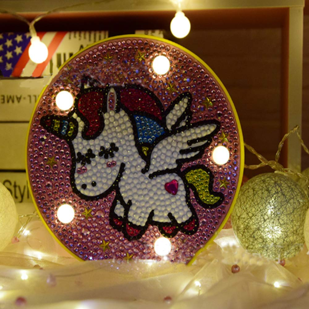 5D Diamond Painting Kits DIY Led Night Light Full Drill Crystal Rhinestone Night Lamp Embroidery/Mosaic Dot Painting by Number Kits Arts Craft for Home Decoration Bear