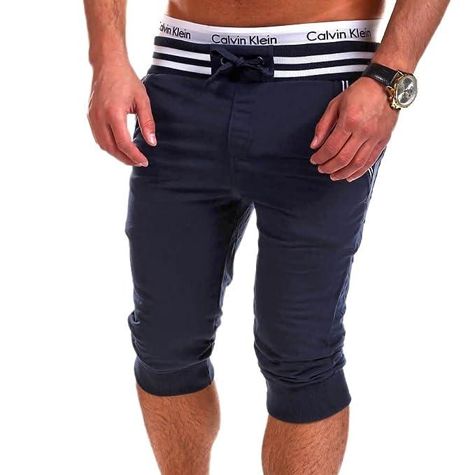 Hibote Hombre Pantalones Cortos Deportivos - Bermudas Pantalones Cortos con cordón Moda Cintura Elástica Pantalón de