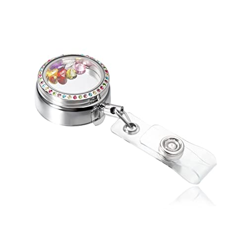 Amazon.com: Acero inoxidable flotante Locket retráctil Badge ...