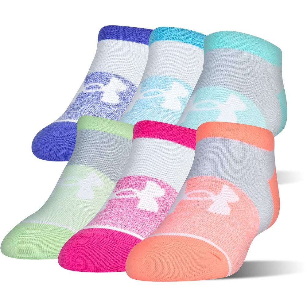 Under Armour Girls Essential No Show Socks (6 Pack) (Youth Small (Youth Shoe Size 13.5K-4Y), Tropic Pink(1264054-655)/Assorted) by Under Armour