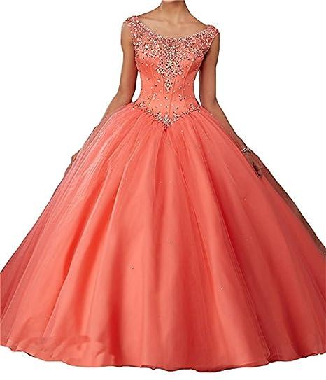 XUYUDITA Womens Sweet 16 Cap Sleeve A-Line Beads Long Prom Quinceanera Dresses Coral-