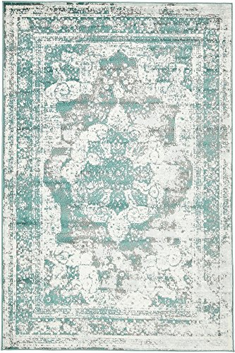 Unique Loom 3137827 Sofia Collection Traditional Vintage Beige Area Rug, 5' x 8' Rectangle, Turquoise (Turquoise Decor)