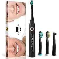 Cepillo de dientes eléctricos recargable con Tecnología Sónicos - 5 Modos 3 cabezales de recambio, Carga del USB 4 Horas dura 30 días, Temporizador Inteligente y impermeable por Gloridea (507Negro)