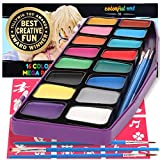 Award Winning Face Paint Kit for Kids | Professional MEGA16 Color Palette Best Face Painting Party Kits and Cosplay Body Paint Set | 30 Stencils | 3 Brushes | Non-Toxic, Hypoallergenic, FDA Compliant
