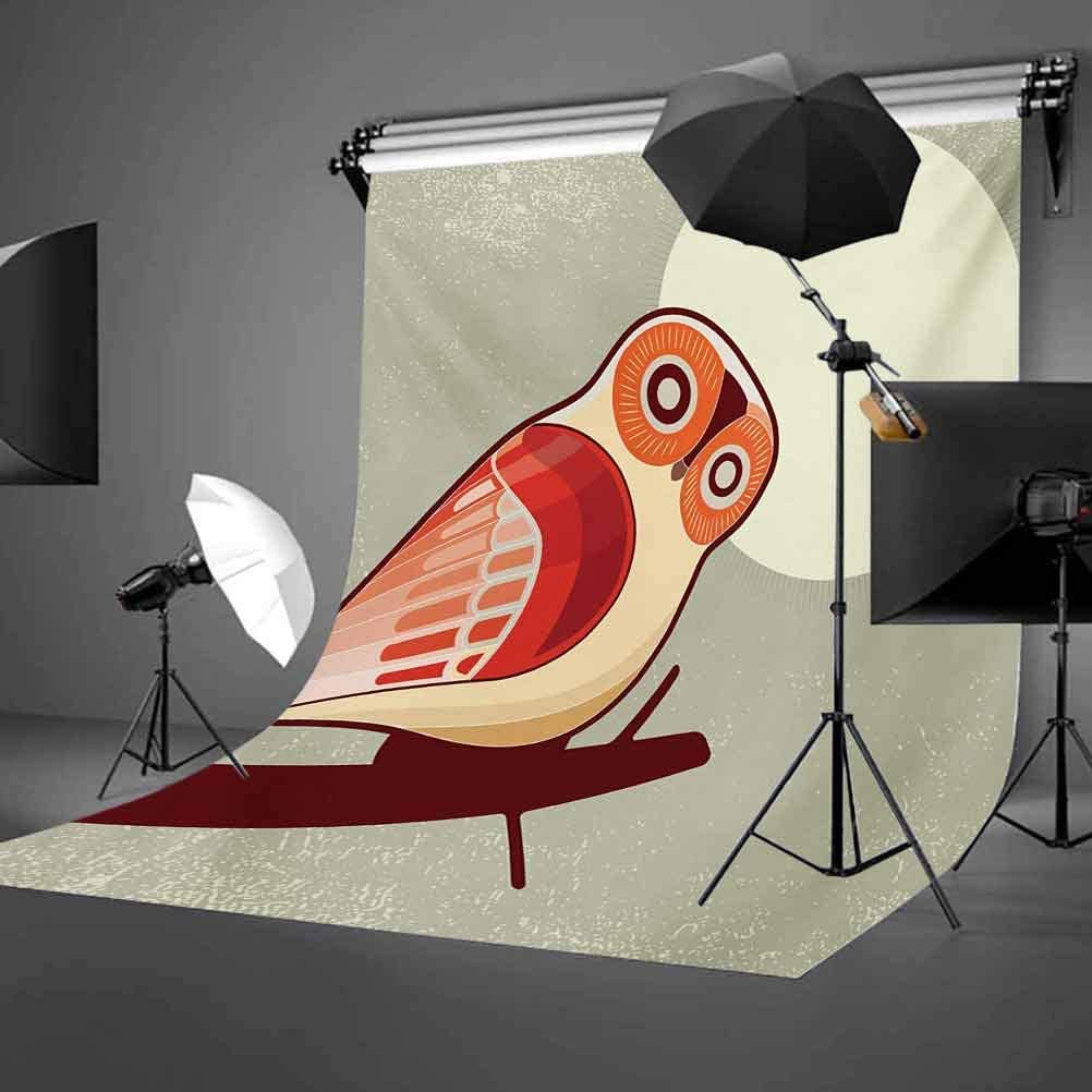 Owl 6x8 FT Photo Backdrops,Full Moon Night with Nocturnal Large Eyed Animal on The Tree Branch Caricature Image Background for Baby Shower Birthday Wedding Bridal Shower Party Decoration Photo Studio