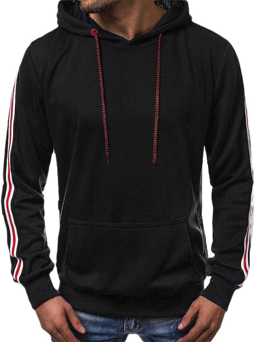 hower Mens Workout Active Long Sleeve Hoodies Casual Hooded Sweatshirts