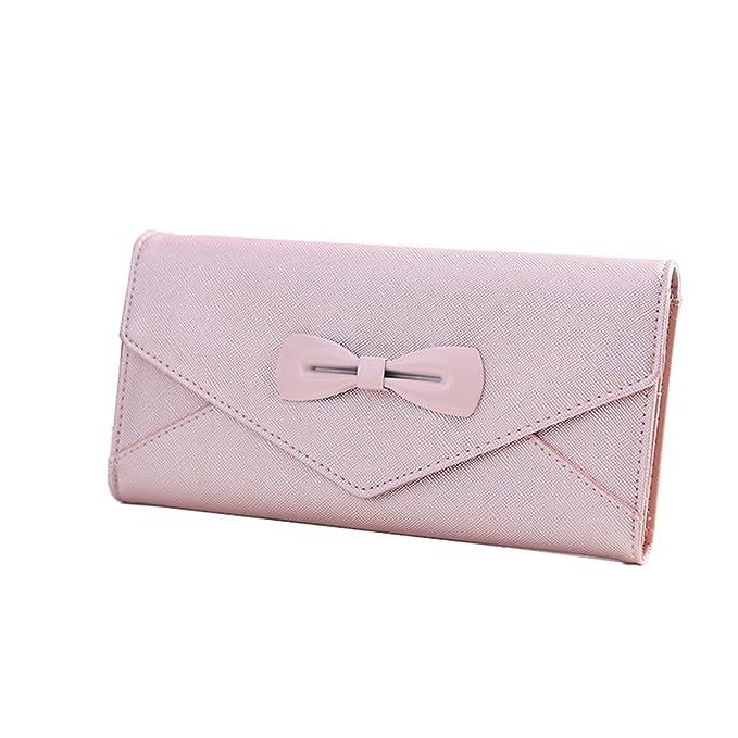 fxtxymx mujeres larga cartera de piel lazo bolso de mano Empalme Sólido Color Embrague Bolso de