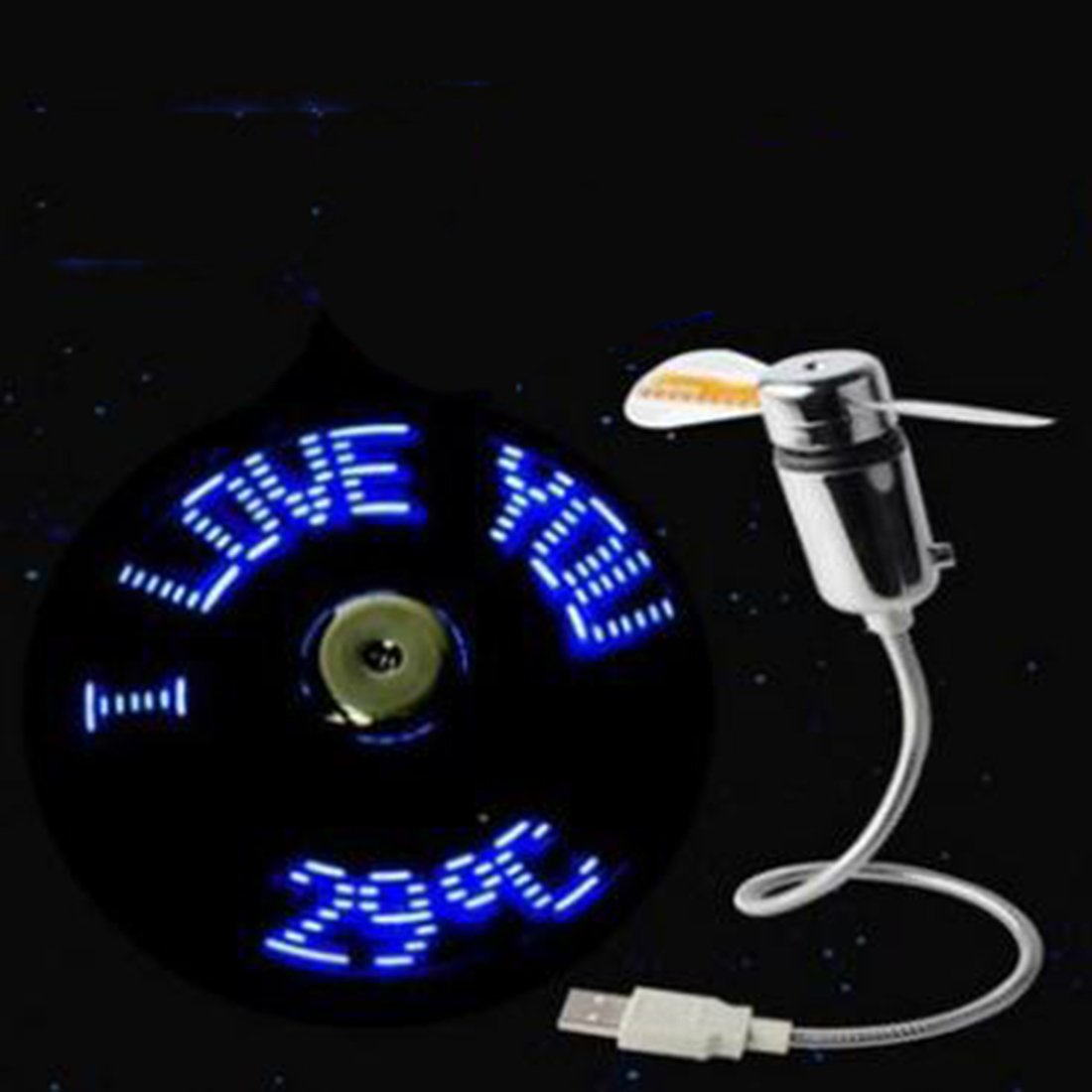 Gets USB LED Clock Fan with Pattern Display Function Portable Cooling Fan Mini USB Gooseneck Fan for Laptop and PC (7 Colors Fan)