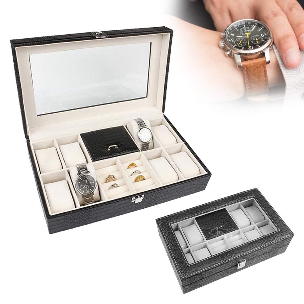 4 Rotekt Caja de Exhibici/ón de Relojes Estuche de Almacenamiento de Relojes para Joyas y Anillo