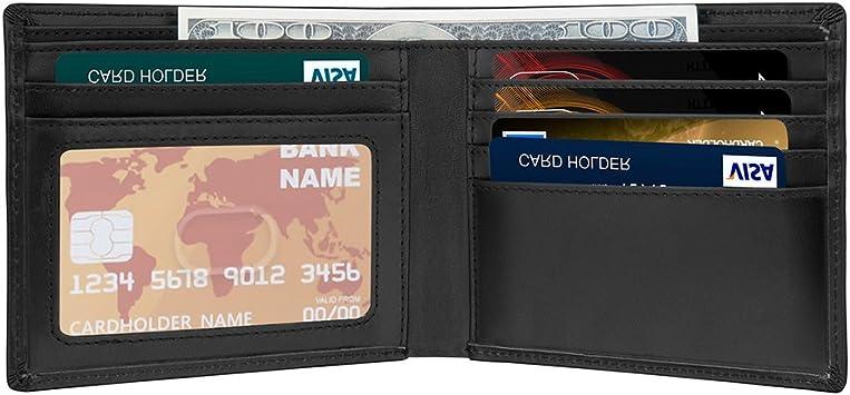 Cartera para Hombre RFID Billetera Billetero Delgado de Cuero ...