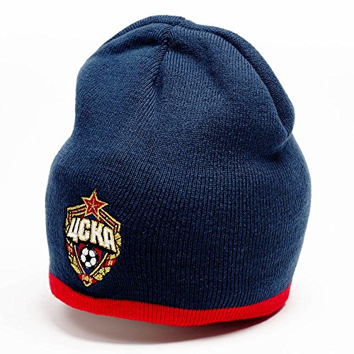 fan products of FC CSKA Moscow beanie hat, dark blue w red stripe