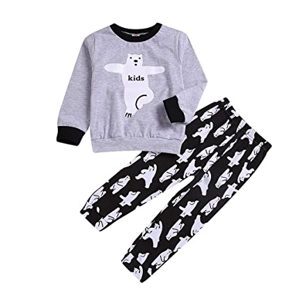 60812cfab2 Sunshinehomely Men Women Kids Baby Family PJS Matching Christmas Pajamas Set  Cartoon Bear Print Top +