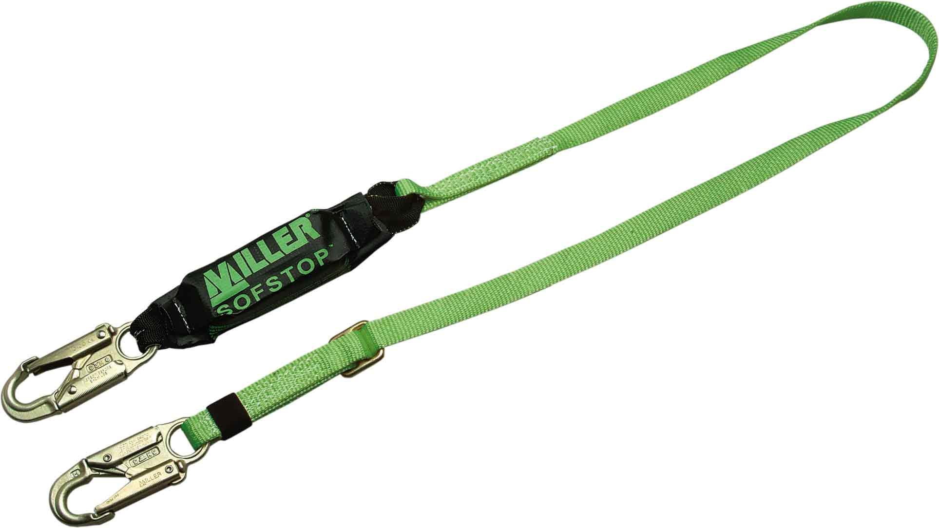 Miller by Honeywell 910TWLS/20FTGK 20-Feet HP Adjustable Web Lanyard with SofStop Shock Absorber and Two Locking Snap Hooks