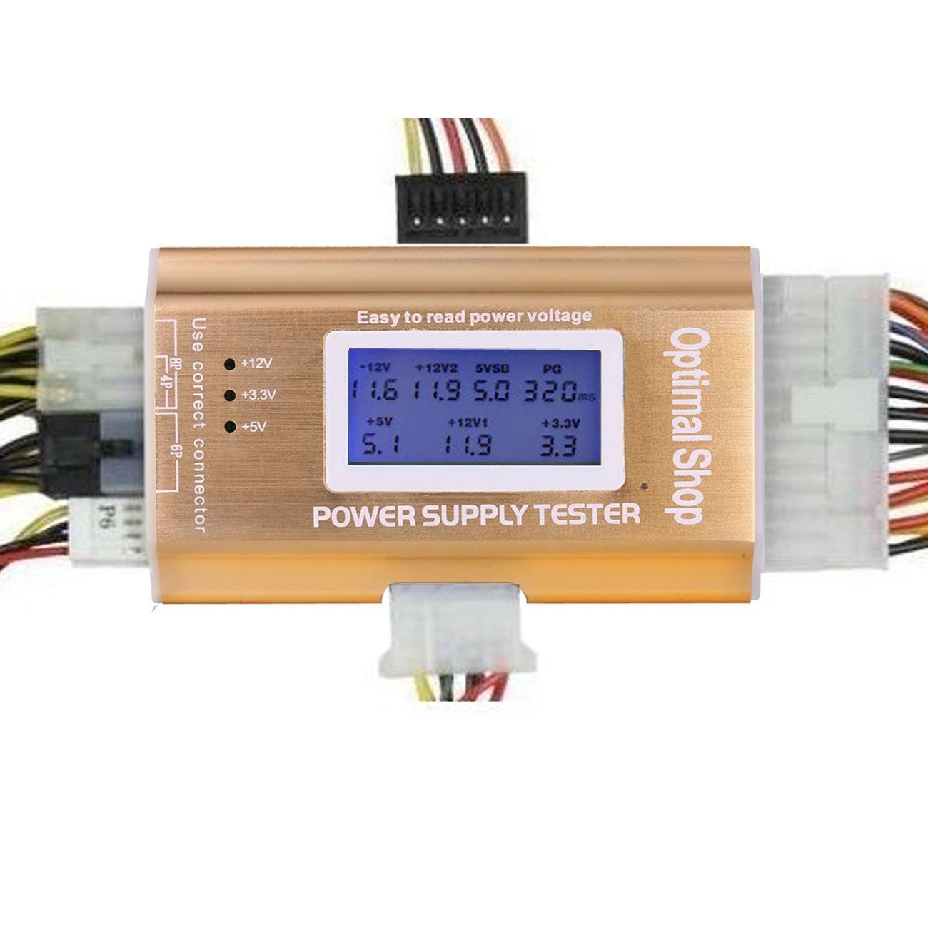 Optimal Shop 20/24 4/6/8 PIN 1.8'' LCD Computer PC Power Supply Tester -Golden