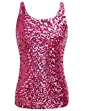 PrettyGuide Women's Shimmer Glam Sequin Embellished Sparkle Tank Top Vest Tops XS Rose