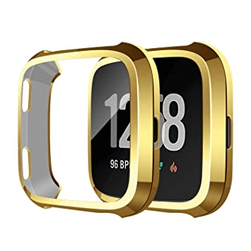 SYOSIN Compatible con Fitbit Versa Protector Pantalla Funda Suave TPU Cubierta Completa para Fitbit Versa Smartwatch (Oro)