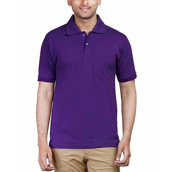a8d95778f078 FLEXIMAA Men's Cotton Polo Collar T-Shirt Purple Color: Amazon.in: Clothing  & Accessories