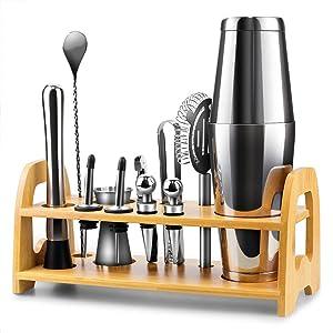 Bartender Kit, 13 Piece Boston Cocktail Shaker Stainless Steel Bar Set with Shaker Tins,Measuring Jigger, Spoon, Pourers, Muddler, Strainer, Tongs, Bottle Stoppers, Opener, Stand, Recipes
