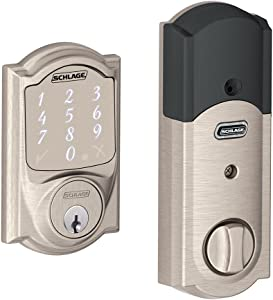 Schlage BE479AA V CAM 619 Satin Nickel Sense Smart Deadbolt with Camelot Trim