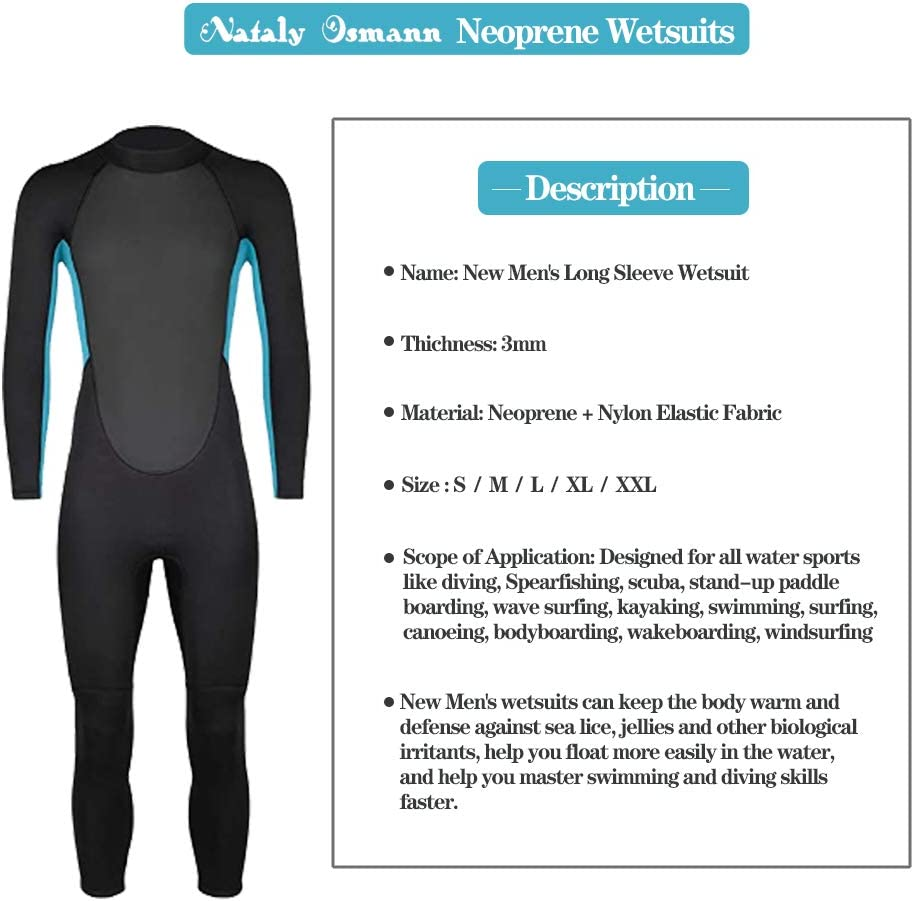 Nataly Osmann Full Wetsuits 3mm CR Neoprene Scuba Diving Suits Back-Zip Long Sleeve Swimming Suit Keep Warm in The Water Sports for Women and Men