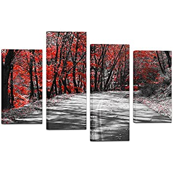 Visual Art Decor Modern Black and White Canvas Wall Art Giclee Prints Autumn Landscape Red Tree  sc 1 st  Amazon.com & Amazon.com: Visual Art Decor Modern Black and White Canvas Wall Art ...