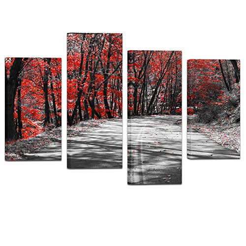 Visual Art Decor Modern Black and White Canvas Wall Art Road Though Red Trees Forest Picture Framed Painting Prints for Living Room Office Home Decoration (01 Road)