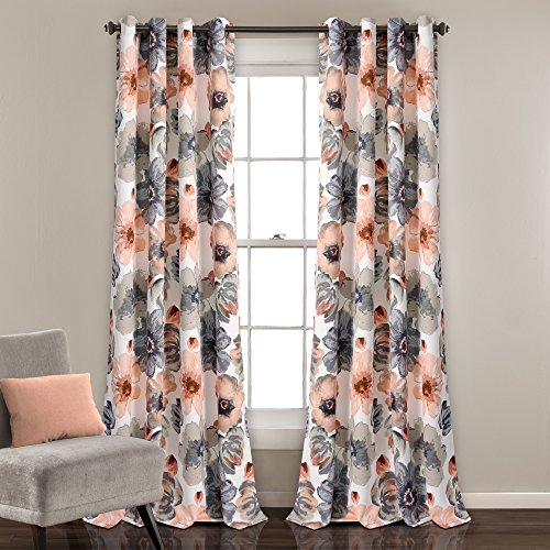 Lush Decor Leah Floral Darkening Coral and Gray Window Panel Curtain Set for Living, Dining Room, Bedroom (Pair), 84