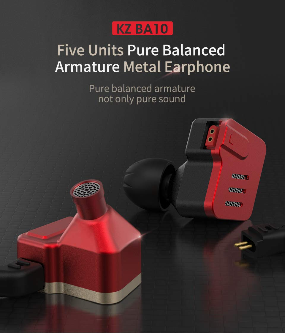KZ BA10 Headset Balanced Armature Driver 5BA HiFi Bass Earbuds in Ear Monitor Earphone Sport Headset Noise Cancelling Headphones Without Mic, Red Black