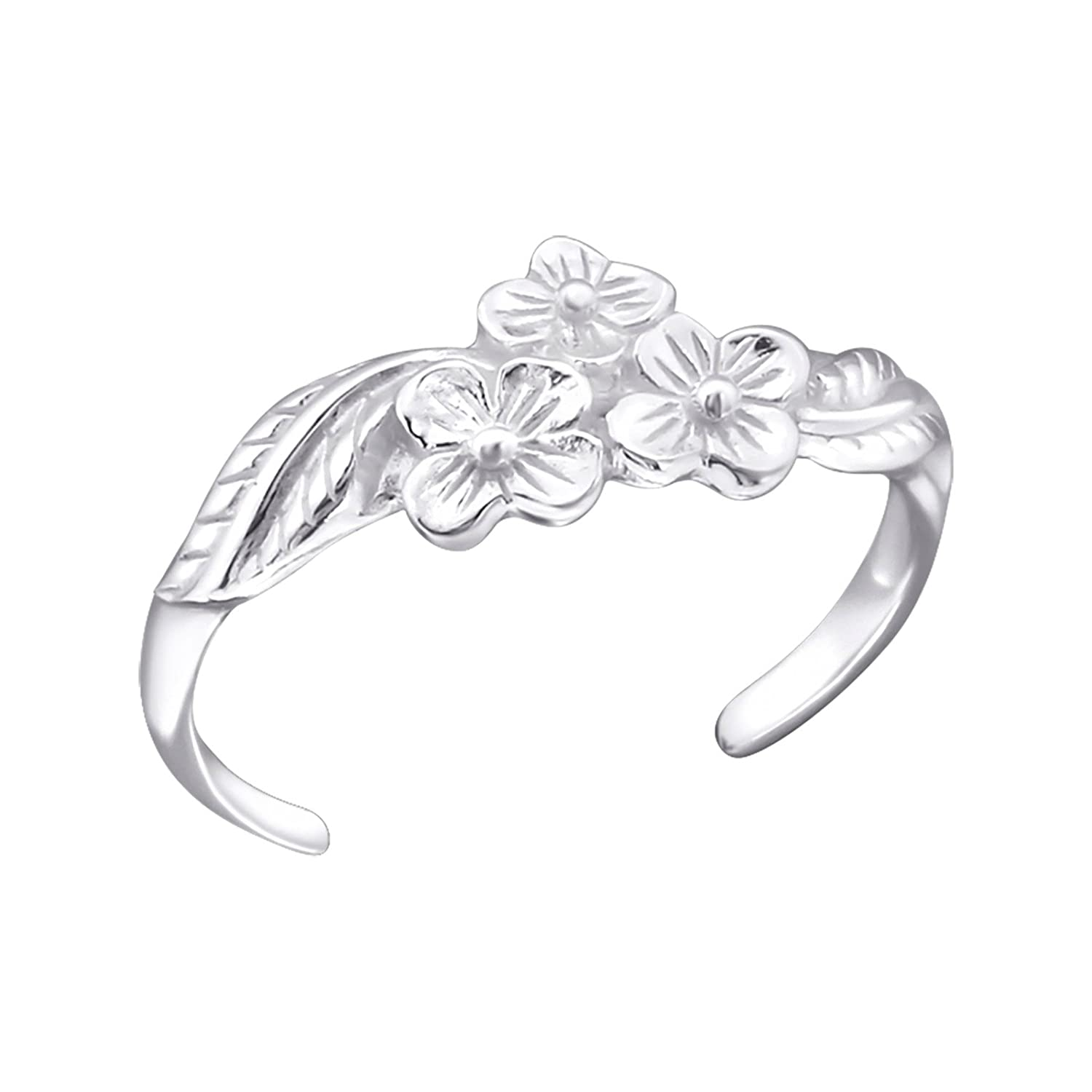 Antique Silver Lined Flowers Adjustable Mid Ring Toe Ring