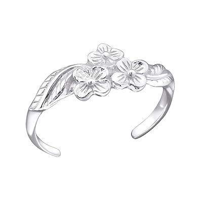 925 Sterling Silver Flower Design Toe Ring Adjustable Size