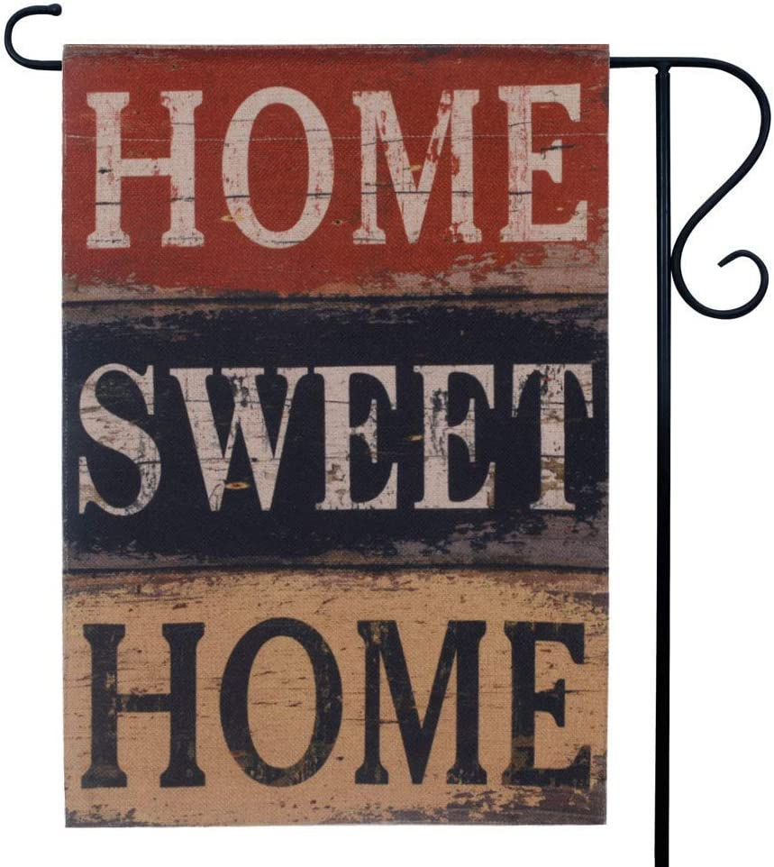 LINKWELL Vintage Home Sweet Home Burlap Garden Flag Double Sided 12.5 x 18 Inch Small Flag for Yard Decor Outdoor Home Decoration GF25
