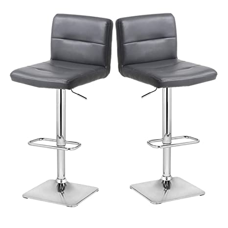 Groovy Modern Swivel Barstools With Chrome Base Adjustable Counter Height Bar Stool Grey Pu Leather Padded With Back Set Of 2 Hold Up To 350Lbs Ncnpc Chair Design For Home Ncnpcorg
