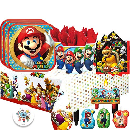 Super Mario Plates (Super Mario Bros Children's Deluxe Birthday Party Tableware Pack for 16 Guests with Mario Plates, Browser Napkins, Mario and Luigi Cups, Plastic Tablecover, Birthday Candles and Exclusive)