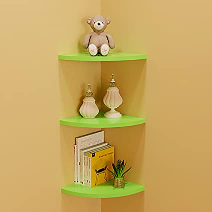 THEE Floating Corner Shelf Decorative Wall Storage Shelves for Bedroom  Living Room