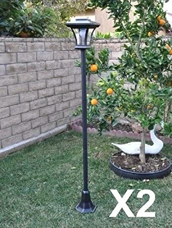 2 Pack Solar Charged LED Lamp Post Decorative Yard Light With 3 Height  Options