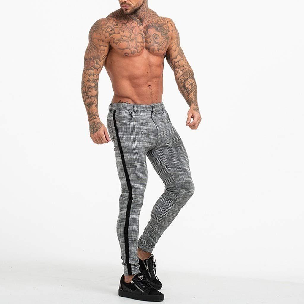 Beautyjourney Pantalon Chino De Tela Para Hombre Raya A Cuadros Pantalones Casuales Deportivos Largos Pantalones De Entrenamiento Elasticos Para Culturismo Pantalones De Jogging Pantalones Deportivos