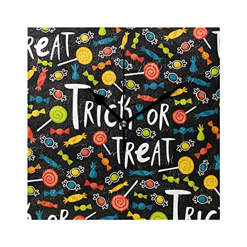 TaTaisu Halloween Trick Or Treat Candy Wall Clocks for Living Room Decor Bedroom Bedside Office Modern ()