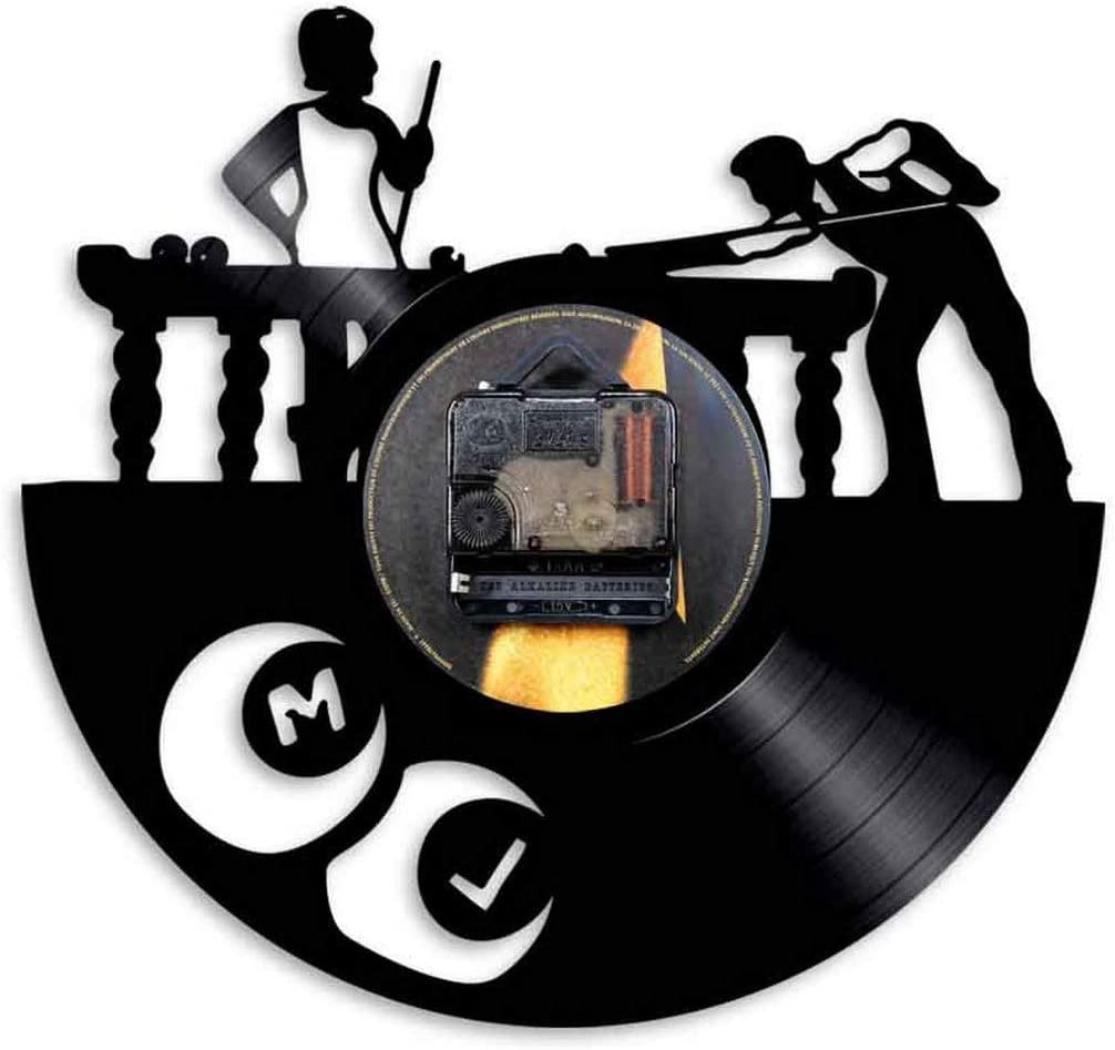 12 Pouces Billard Motif Disque Vinyle Horloge Murale Vintage Main Design Horloge silencieuse Art Noir Cadeau Horloges Mur Chambres R/étro Lumineux LED