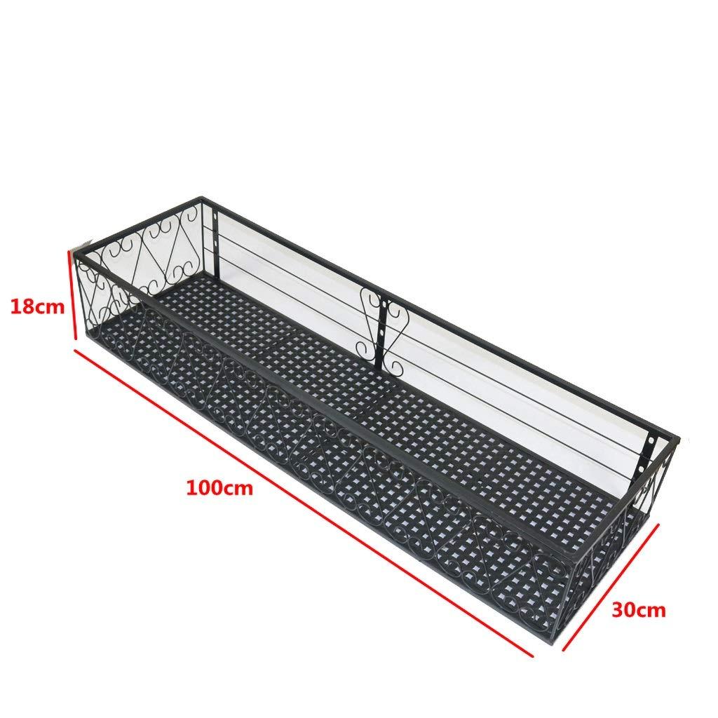 MXXHJ Supporto per Piante Supporto per Fiori per braccioli Ringhiera per balconi Appendiabiti per Piante a Sospensione Appendiabiti a Parete (Dimensioni   100cm)