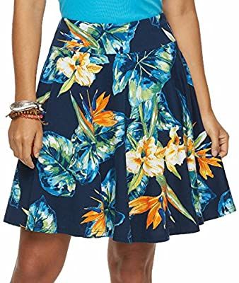 Chaps Women's Tropical Floral A-Line Skirt, Sunshine Denim