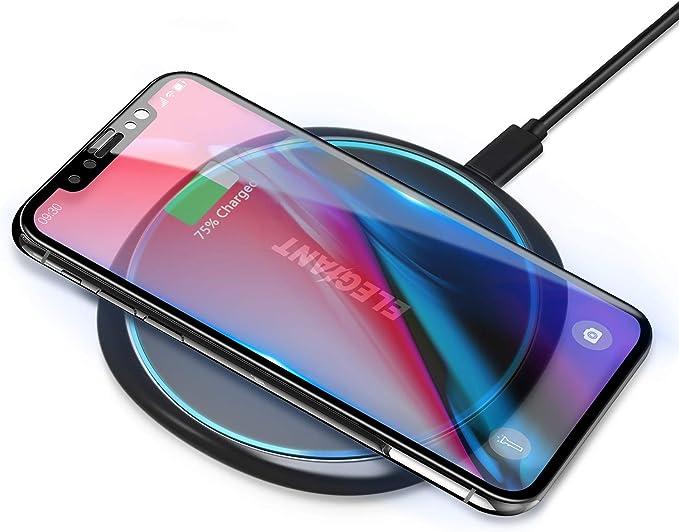 ELEGIANT 15W Cargador Inalámbrico Rápido Qi, 7.5W Compatible con iPhone12/11/SE 2/XS/XR/X/8, 10W para Samsung Galaxy S21/S20/S10/S9/S8/Note20, Huawei ...