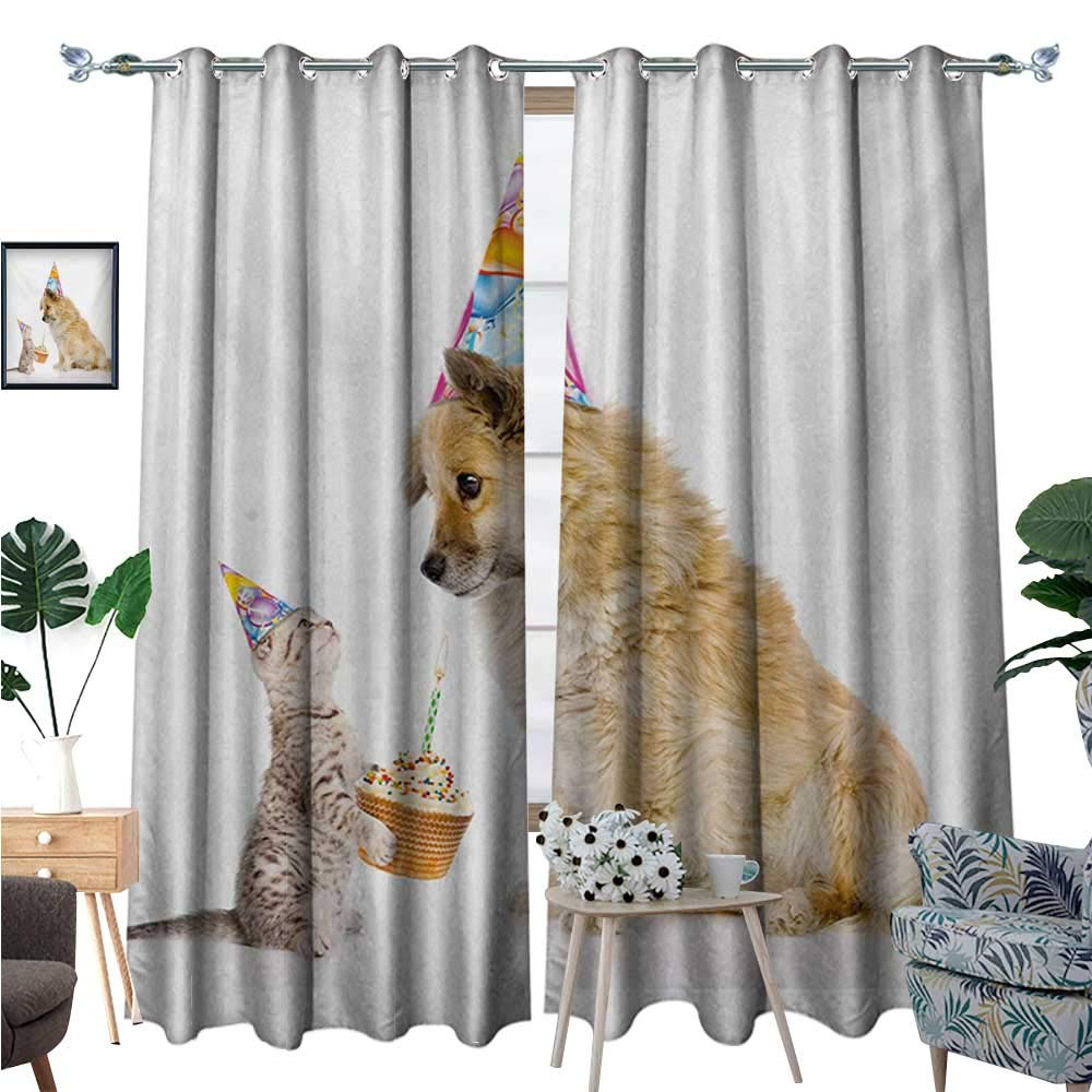 Kids Birthday Waterproof Window Curtain Cat and Dog Domestic Animals Human Best Friend Party with Cupcake and Candle Blackout Draperies for Bedroom W96 x L108 Multicolor by BlountDecor