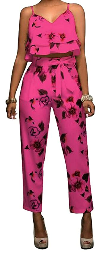 LD Womens Casual Ruffled Crop Top Belted Pants Flower Print Beach Outfits