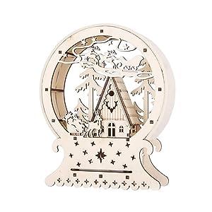 BESTOYARD LED Lámpara Decorativa Madera Bola de Nieve con Navidad Casa Patrón Navidad Atril Navidad Mesa Decorar Ventanas