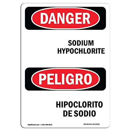 Amazon.com: OSHA Danger Sign - Sodium Hypochlorite ...