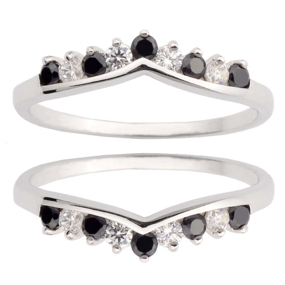 Two Pieces Sterling Silver 925 Round Shape Black Cubic Zirconia Wedding Ring Guard Size 7