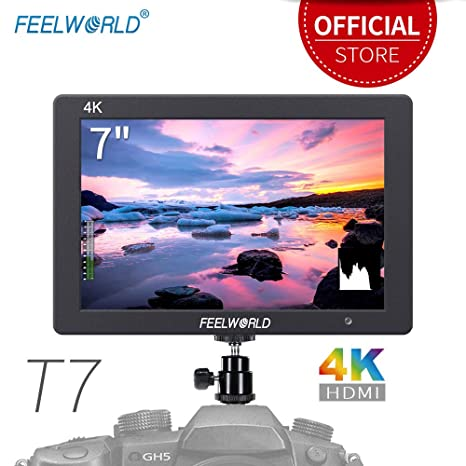 Feelworld T7 7 Pulgadas On Cámara Field Monitor de Campo Camera DSLR Small HD Focus Video Assist 1920x1200 IPS con 4K HDMI Input Output Carcasa de ...